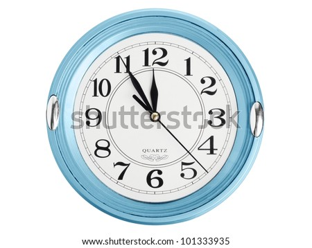 Blue wall clock isolated on white background - stock photo