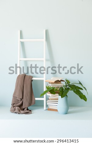 blue wall interior stairs - stock photo