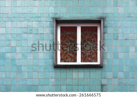 blue wall tiles with window - stock photo