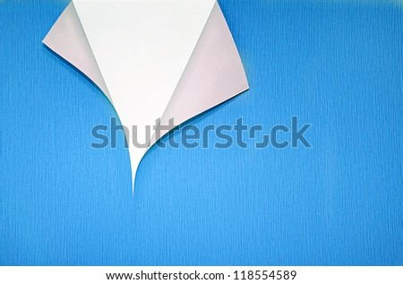 blue wallpaper with curled corner and white copyspace - stock photo