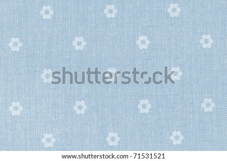 blue wallpaper with little white blossoms - vintage background - stock photo