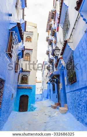 Blue walls of the houses  of Chefchaouen, Morocco. - stock photo