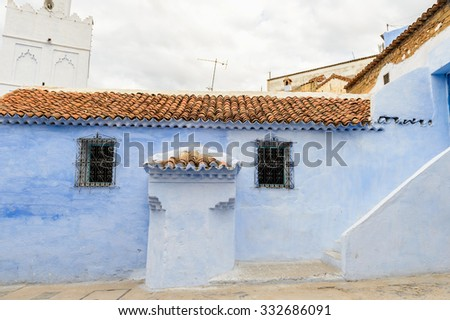 Blue walls street of Chefchaouen, Morocco. - stock photo
