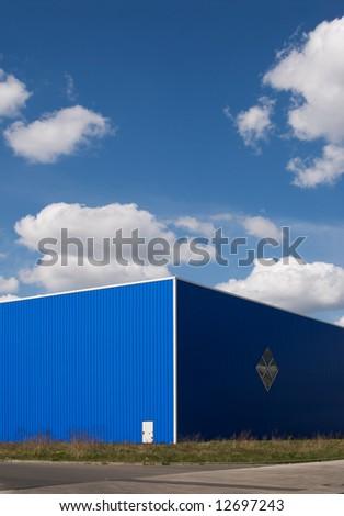 blue warehouse - stock photo