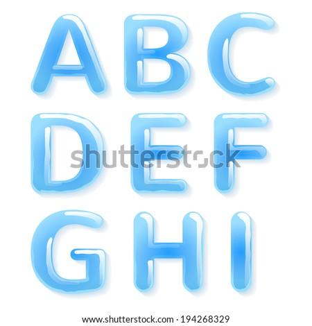 Blue water alphabet. Raster version. - stock photo