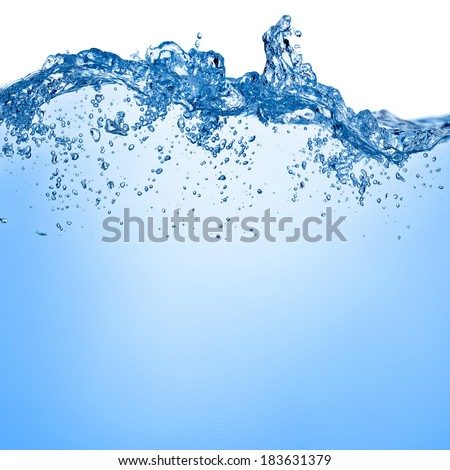 Blue water and air bubbles in the pool over white background with space for text  - stock photo