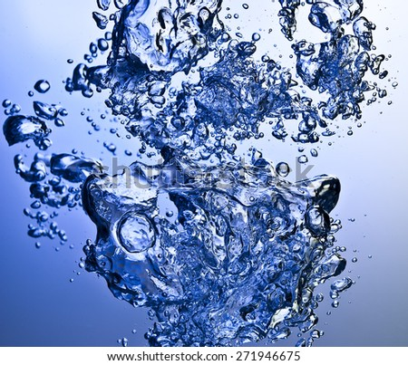 blue water and bubbles - stock photo