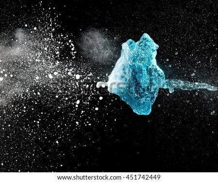 Blue water and dust explosion