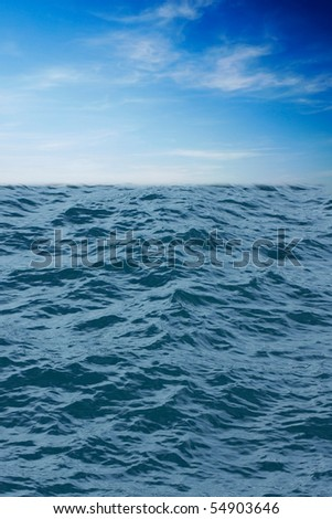 Blue water and sky - stock photo
