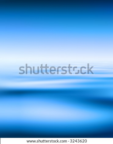 Blue Water And Sky Background - stock photo