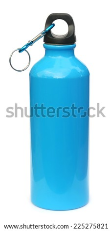 Blue water bottle over white background - stock photo