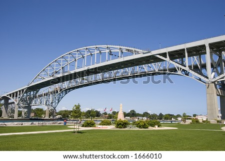 Blue Water bridge as seen from Sarnia, Ontario crossing the St. Clair River into Port Huron, Michigan