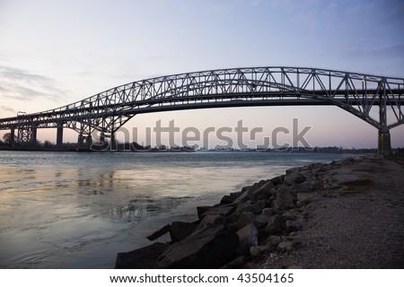 Blue Water Bridge - border between USA and Canada. Port Huron, Michigan. - stock photo