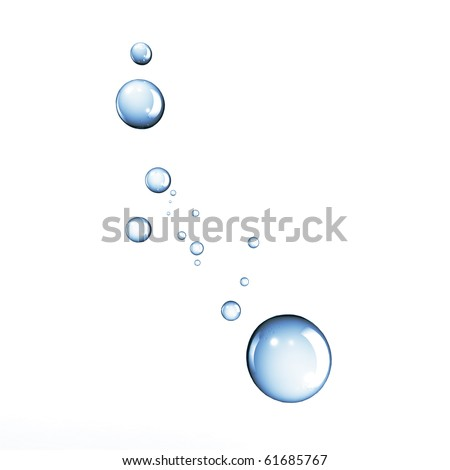 Blue water bubbles or drops isolated on white background - stock photo
