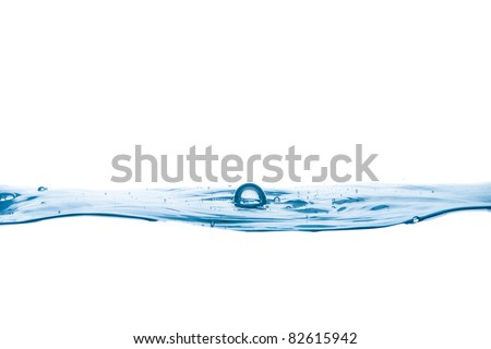 Blue water. Close up. Macro shot. Studio shot. - stock photo