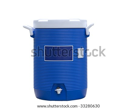 Blue water cooler isolated on white - stock photo