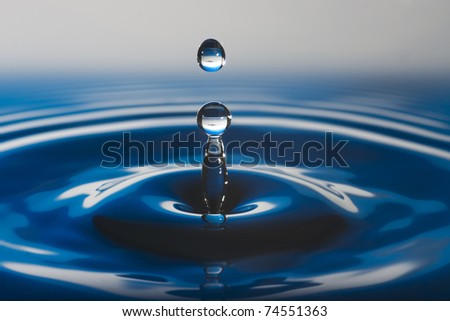 Blue water drop - stock photo