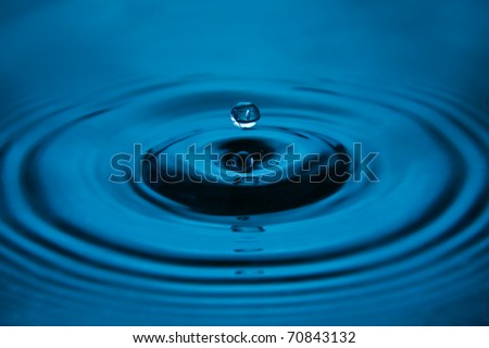 blue water drop close up