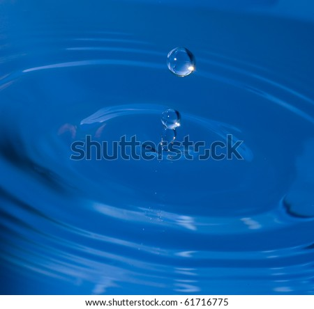Blue Water drop  on ripple surface