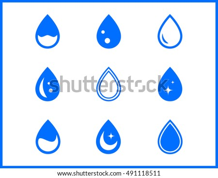 blue water drop set on white background