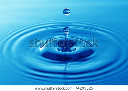 Blue Water drop splash - stock photo