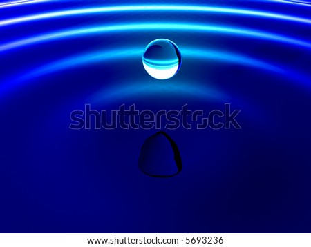 Blue water droplet - stock photo