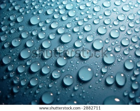 blue water-drops - stock photo