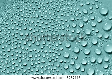 Blue water drops - stock photo
