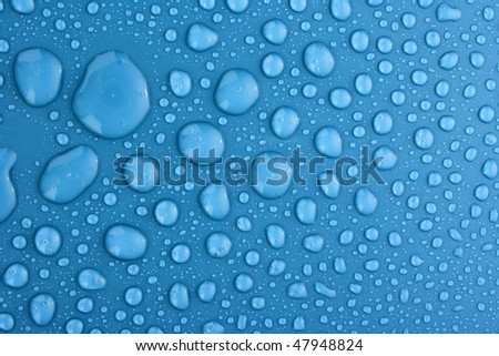 Blue water drops background with big and small drops