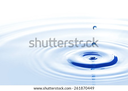 Blue water drops falling down close up - stock photo