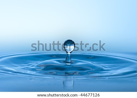 Blue water environmental abstract background - blue water drop splashing in clear clean water