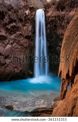 blue water falls - stock photo
