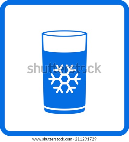 blue water glass with snowflake icon - stock photo
