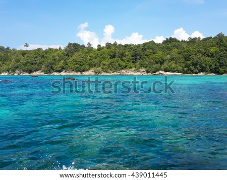 Blue water, green island