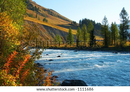 blue water in river. Altay - stock photo