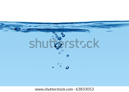 Blue water line with air bubbles isolated on a white background. - stock photo