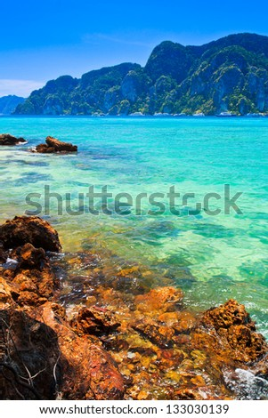 Blue water Phi Phi Island south of Thailand