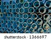 blue water pipes - stock photo