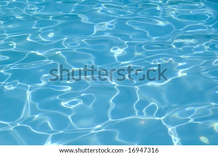 Blue water pool reflections - stock photo