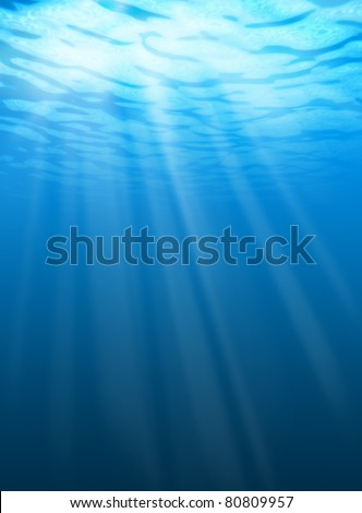 Blue water ripples underwater. Texture of background - stock photo