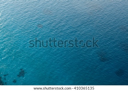 Blue water sea background. View from above.