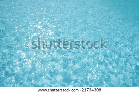 Blue water sparkling at the sun