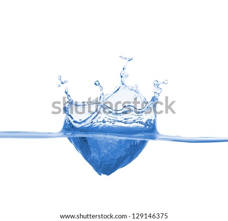 Blue water splash - stock photo
