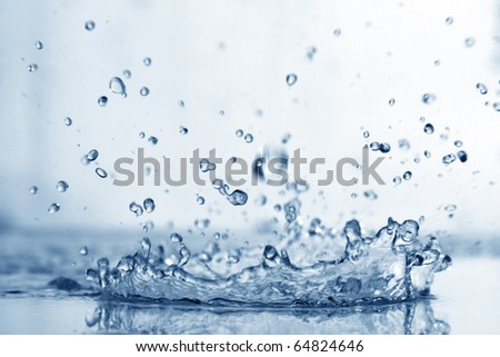 blue water splash - stock photo