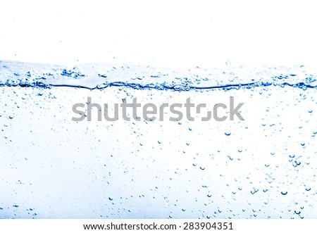 Blue water splash close up on a white background - stock photo