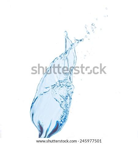blue water splash isolated on white background - stock photo