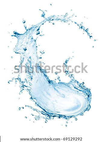 blue water splash isolated on white background - stock photo
