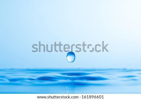 Blue water splashes background - stock photo