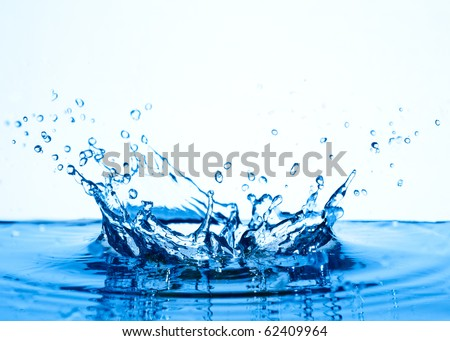 blue water splashing isolated on white background - stock photo