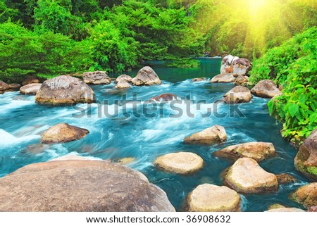 "Blue water stream. ""Phong Nha - Ke Bang"" National Park. Vietnam - stock photo"